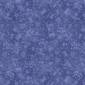 Roly-Poly Snowman: Mini Motifs Navy Blue