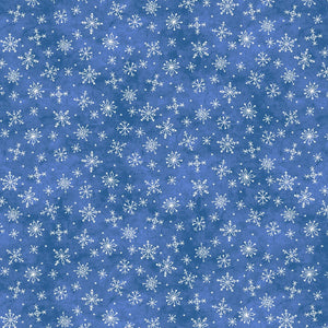 Roly-Poly Snowman: Stitched Flowers Blue