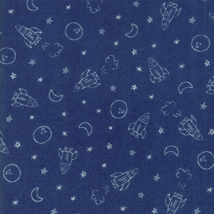 Soft & Sweet Flannel: Blast Off Dk Blue