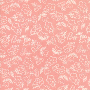Soft & Sweet Flannel: Dancing Flowers Dk Pink