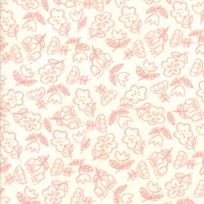 Soft & Sweet Flannel: Dancing Flowers Pink Cream