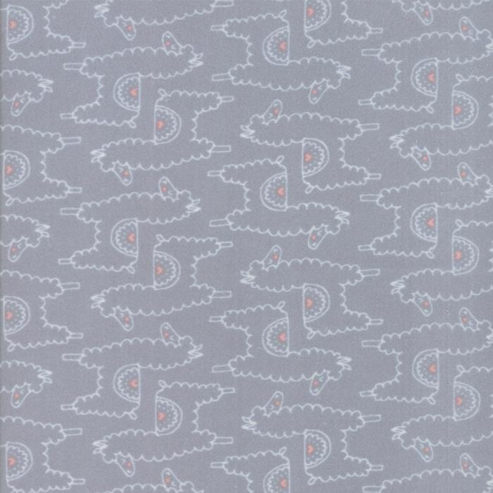 Soft & Sweet Flannel: Llama Llama Love Grey