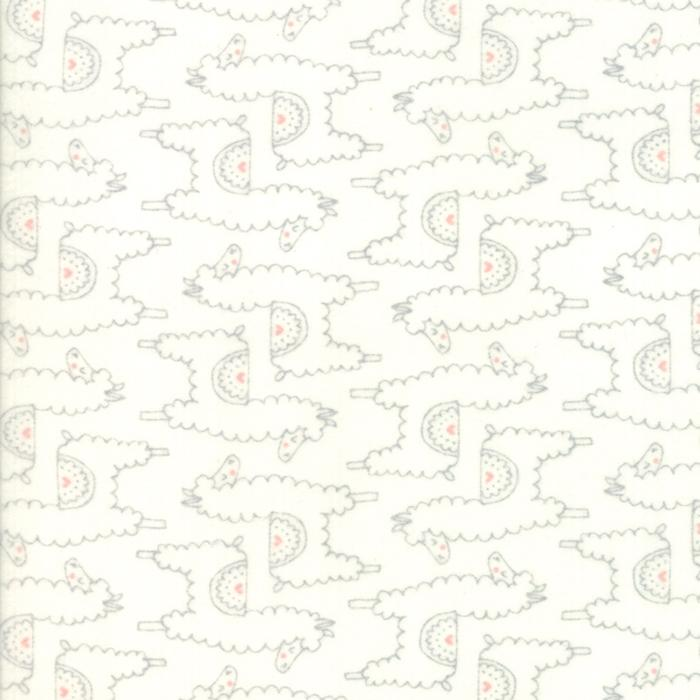 Soft & Sweet Flannel: Llama Llama Love Grey Cream