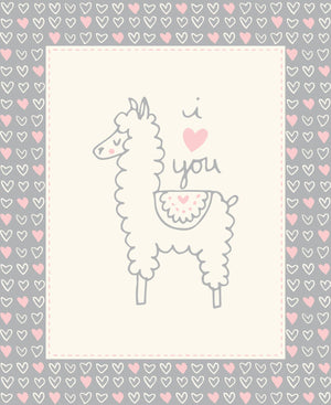 Soft & Sweet Flannel: Llama Llama Quilt Panel Grey