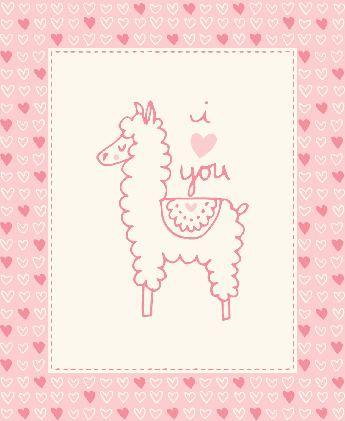 Soft & Sweet Flannel: Llama Llama Quilt Panel Pink