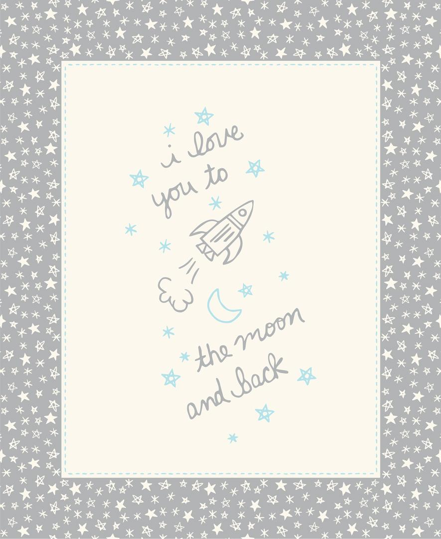Soft & Sweet Flannel: To the Moon Panel Grey