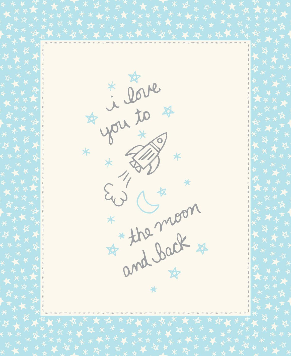 Soft & Sweet Flannel: To the Moon Quilt Panel Lt Blue
