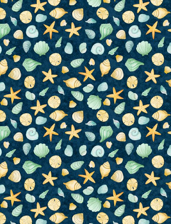 Water Wishes: Seashells Navy/Green