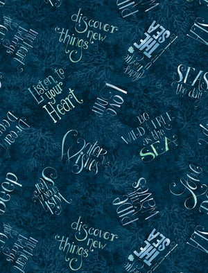 Water Wishes: Words All Over Navy