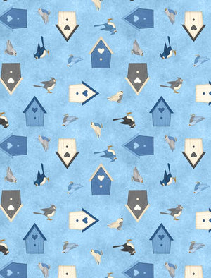 Welcome Winter! Birds & Birdhouses Medium Blue