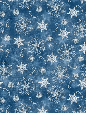 Welcome Winter! Snowflakes Dark Blue