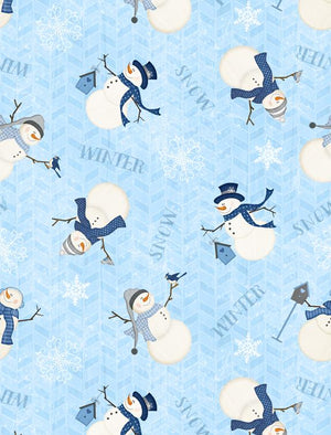 Welcome Winter! Tossed Snowmen Blue