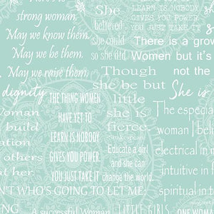 Women Are....Bernina Words Turquoise/White
