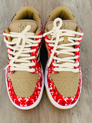 "Custom Nike Dunk Lo ""Red Vintage Bandana"""