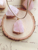 Rose Quartz Suede Necklace