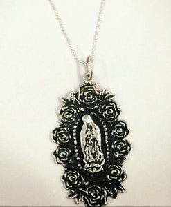 Virgen de Guadalupe Rosa Necklace