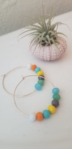 Pastel Crystal Hoop Earrings
