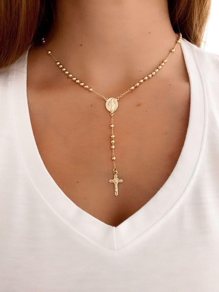 Rosary 14kt Gold Necklace
