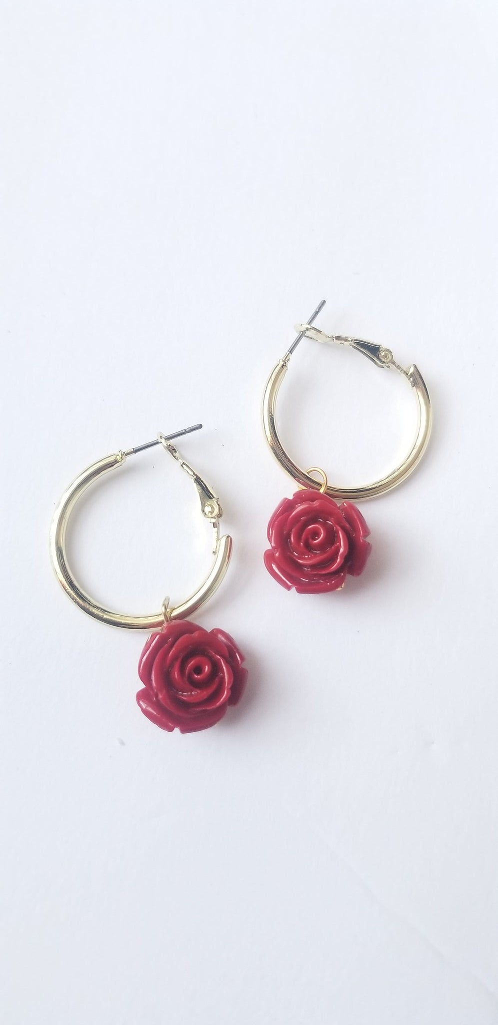 Rose Huggie Gold Hoop Earrings