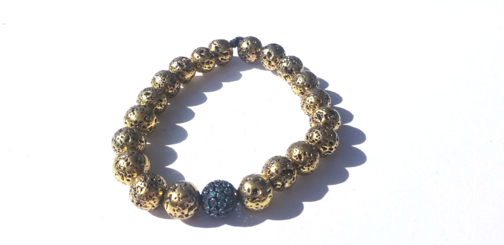 Load image into Gallery viewer, Gold Lava Bead Bracelet
