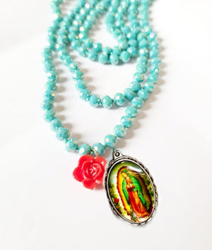 Load image into Gallery viewer, Virgen de Guadalupe Crystal Wrap Necklace