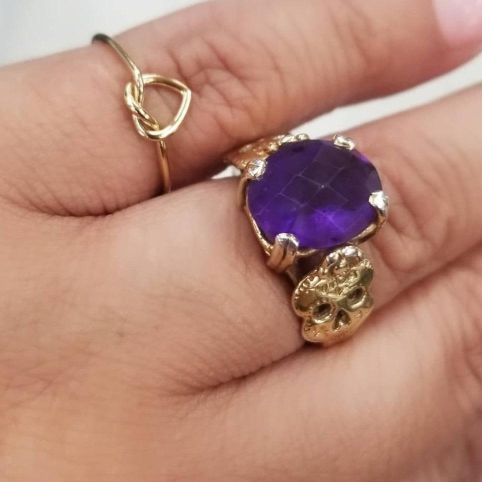 Amethyst Sugar Skull Ring