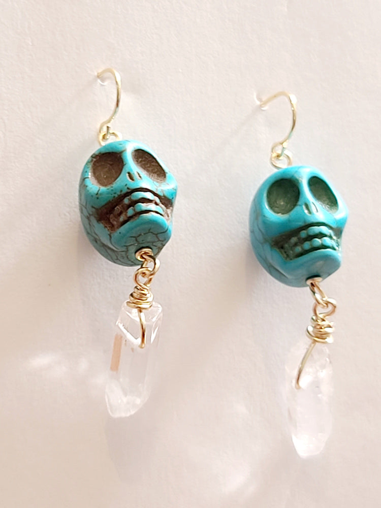 Load image into Gallery viewer, Ofrenda Skull Quartz Earrings