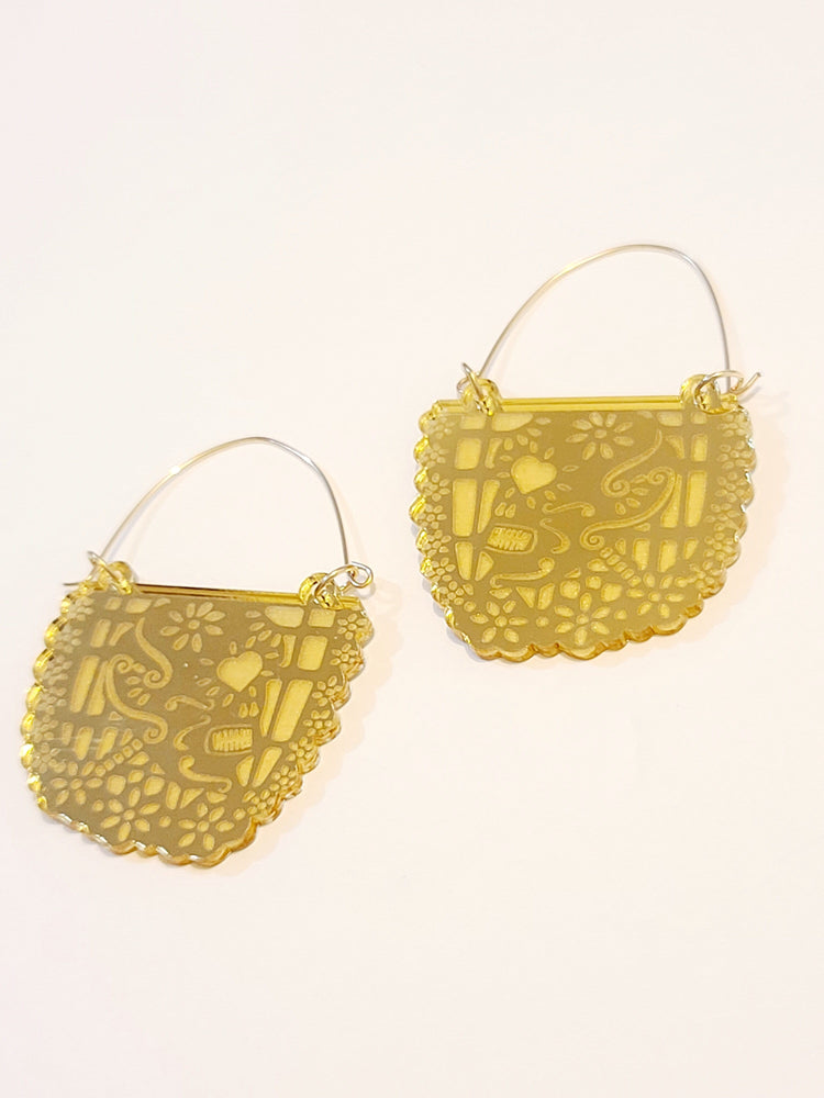 Papel Picado Oro Hoop Earrings
