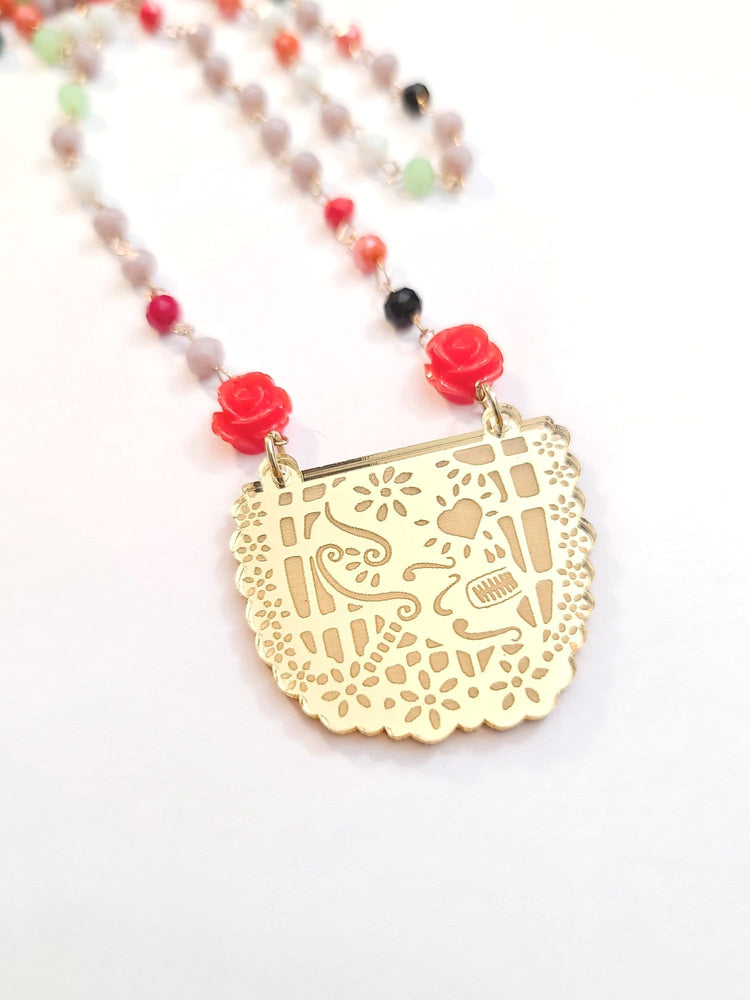 Load image into Gallery viewer, Papel Picado Rosary Crystal Necklace