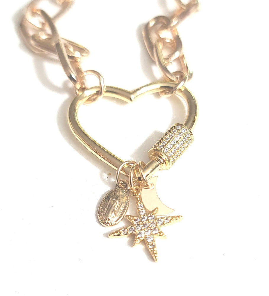 Heart Lock Virgen Necklace
