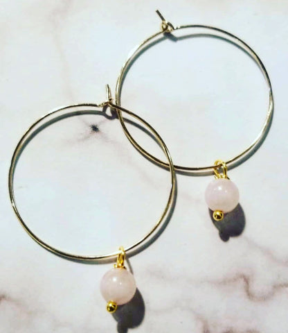 Rose Quartz Amor Hoops
