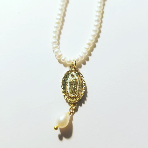 Virgen de Guadalupe Pearl Necklace