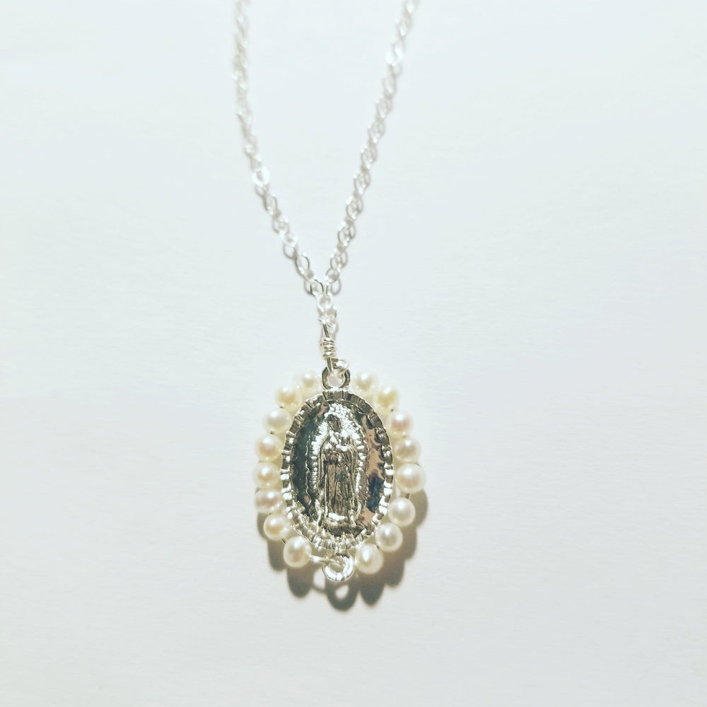 Load image into Gallery viewer, Virgen de Guadalupe Pearl Charm Necklace