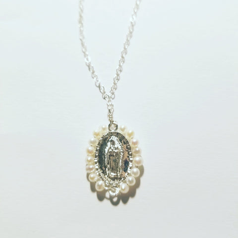 Virgen de Guadalupe Pearl Charm Necklace