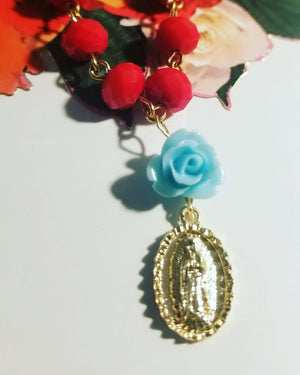Load image into Gallery viewer, LA Virgen de Guadalupe Rosary Charm Necklace