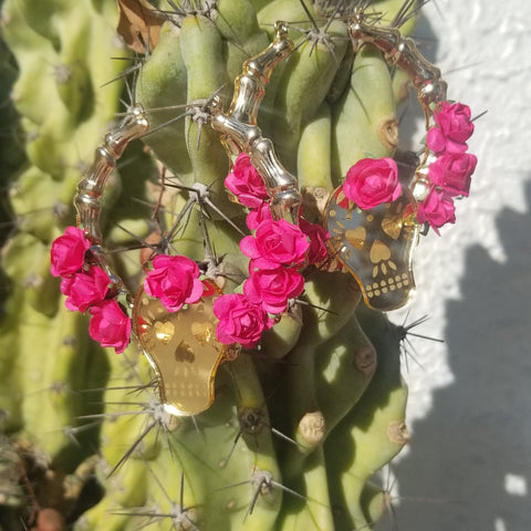 Papel Picado Sugar Skull Bamboo Hoop Earrings