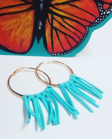 Suede Tassel Hoop Earrings
