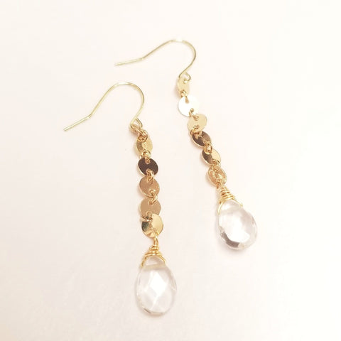 Gold Link Clear Quartz Earrings