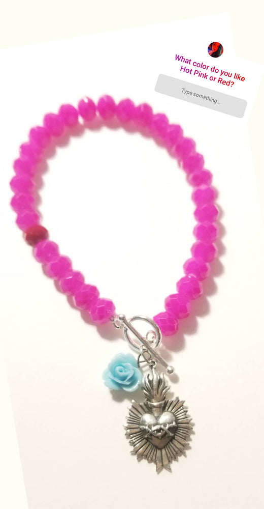 Load image into Gallery viewer, Sacred Heart Pink Crystal Bracelet