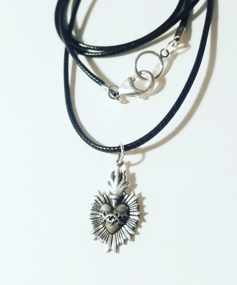 Sacred Heart Leather Necklace