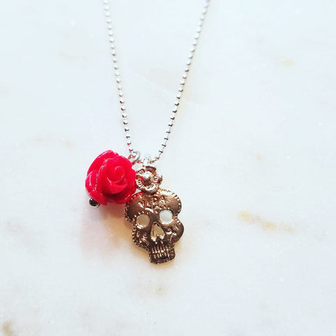 Sugar Skull Rose Necklace