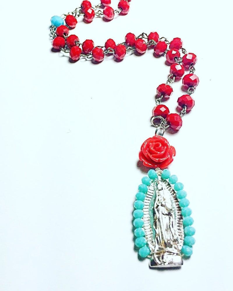 Virgen de Guadalupe Crystal Rosary Necklace