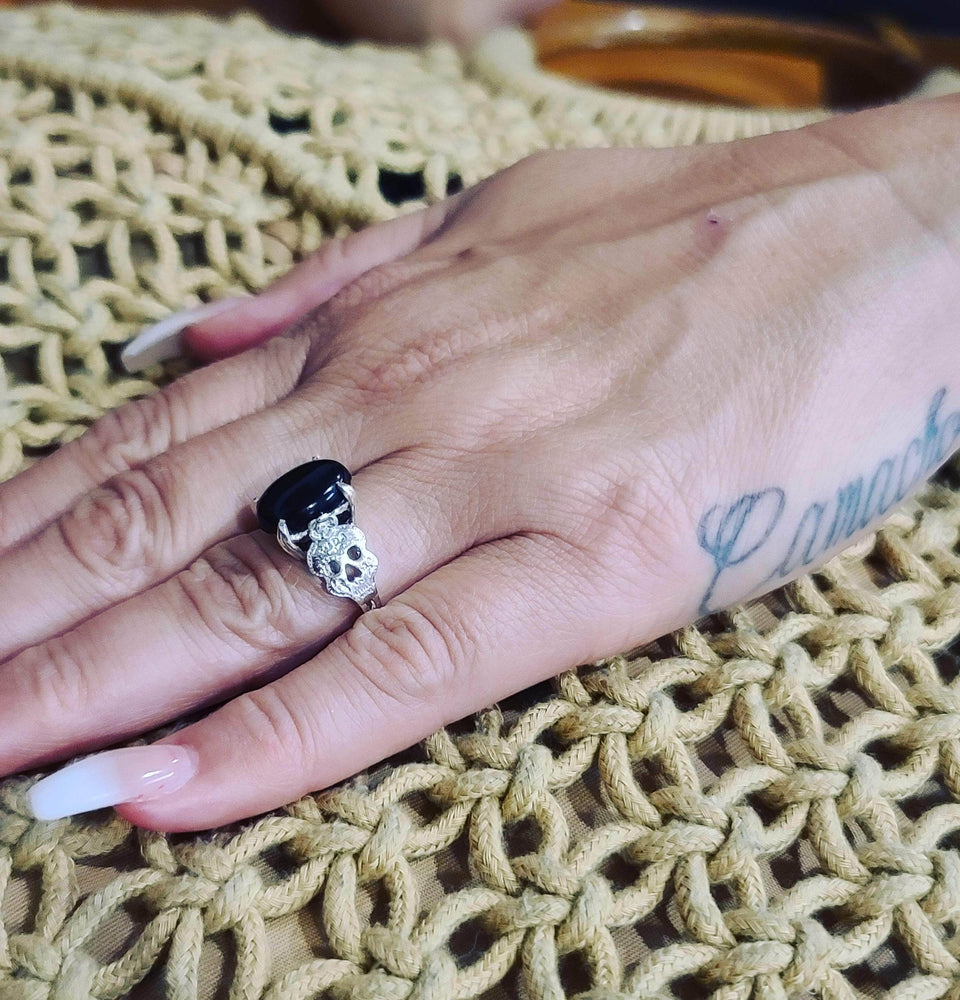 Load image into Gallery viewer, Onyx Sugar Skull Ring