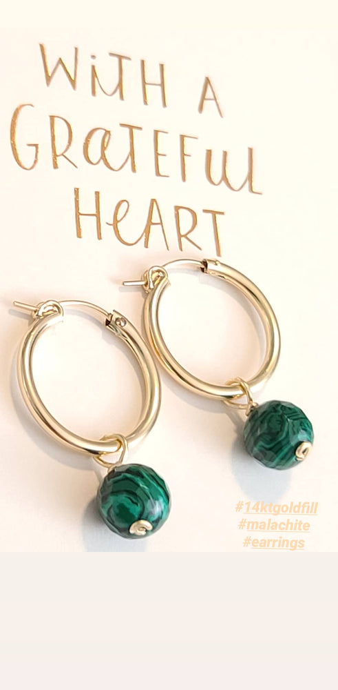 Malachite 14kt Gold Fill Hoop Earrings