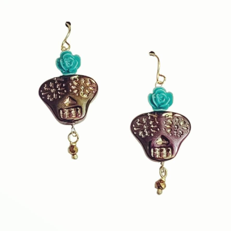Dulce Flor Skull Earrings