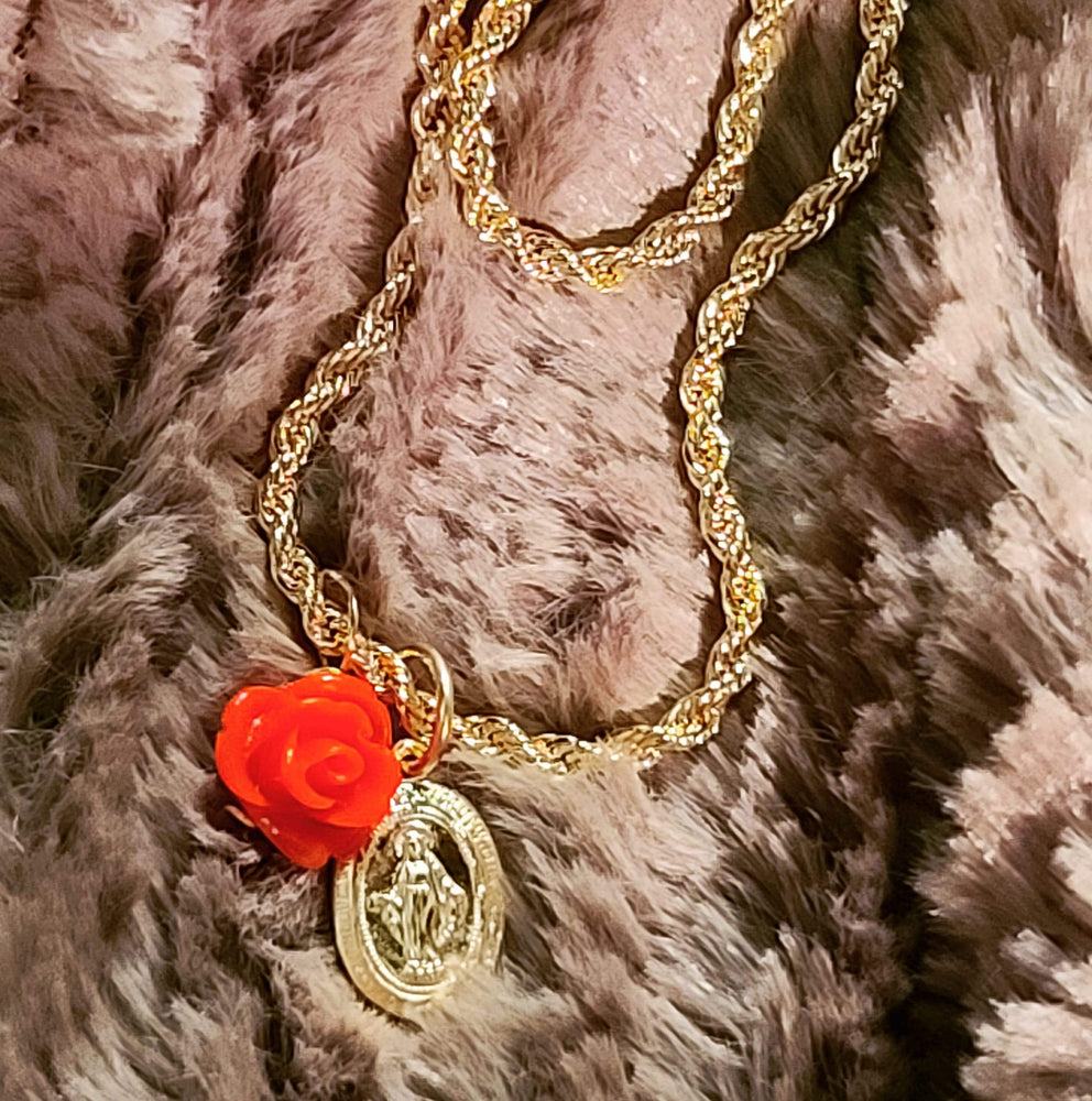 Virgen de Guadalupe Rope Chain Necklace