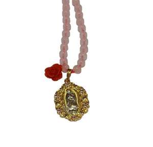 Load image into Gallery viewer, Rose Quartz Virgen Necklace