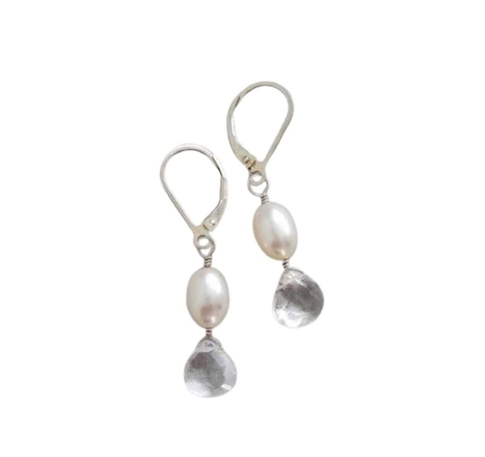 Lluvia Pearl Clear Quartz Earrings