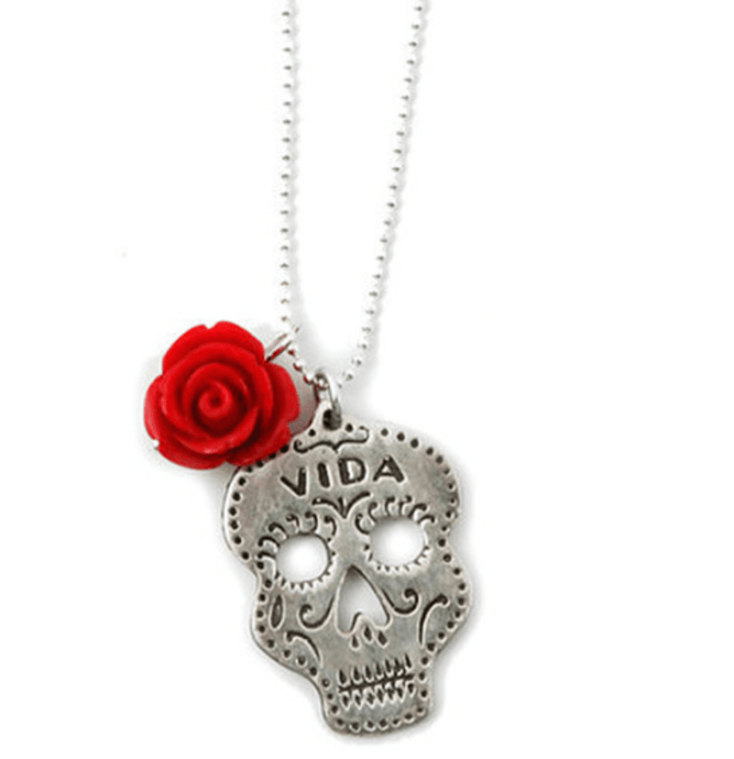 Vida Skull Rose Necklace