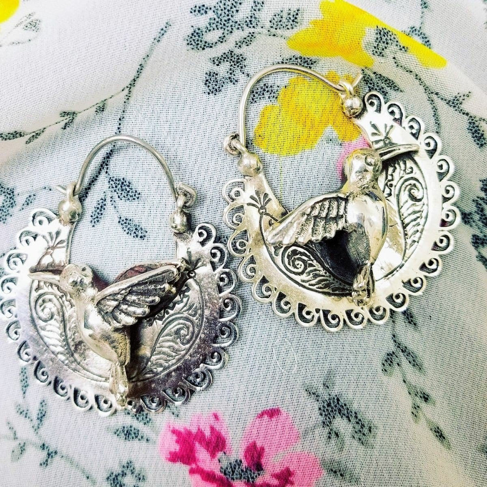 Load image into Gallery viewer, Hummingbird Sterling Silver Arracadas